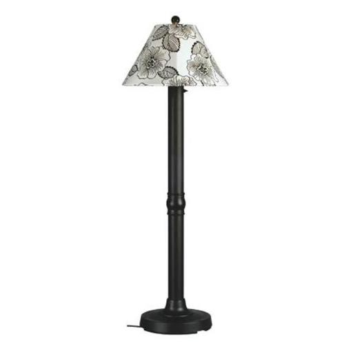 Patio Living Concepts 20620 Seaside Floor Lamp 20620 with 3 in. black body and antique beige linen Sunbrella shade fabric - BLACK