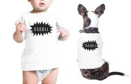 Double Trouble Pet Baby White Cotton Tees Funny Matching Gift Ideas