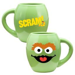 Oscar Sesame Street Face 18 oz. Oval Ceramic Coffee Mug Green Smile Scram
