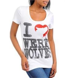 "Juniors ""I Love Were Wolves"" Graphic Tee New"