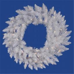 Vickerman A104237LED 36 in. Crystal White Wreath 90LED White