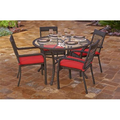 Northlight Seasonal 31523231 Beacon Cappuccino Weave Resin Wicker Outdoor Chair and Dining Table Set