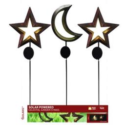 Alpine Zen282a Solar Moon & Star Stake With Led Light Pack Of 9