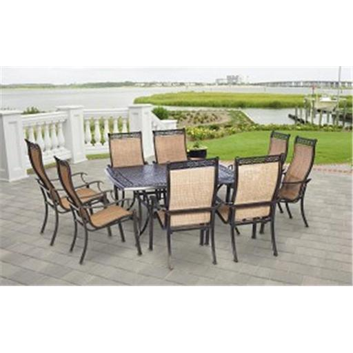 60 in. Manor Dining Set with Square Table, 9 Piece