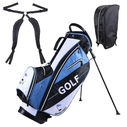 Men's Golf Club Bag 15x11x35' 600D Golf Carry Bag w/ 7 Pockets For Male Adult Golf Accessory Blue