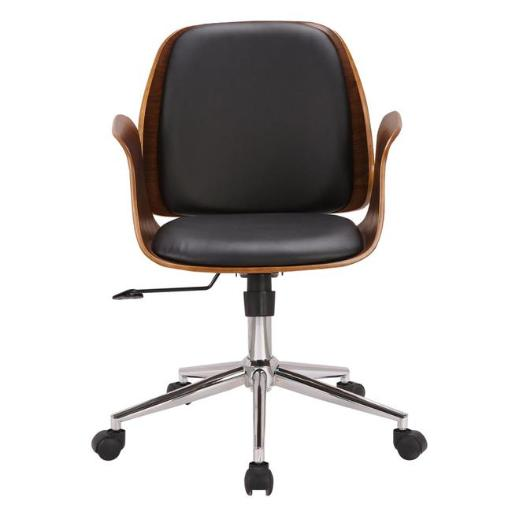Armen Living LCSGOFCHWABL 35-44 x 19 x 20 in. Santiago Mid-Century Office Chair, Black Faux Leather with Walnut Wood
