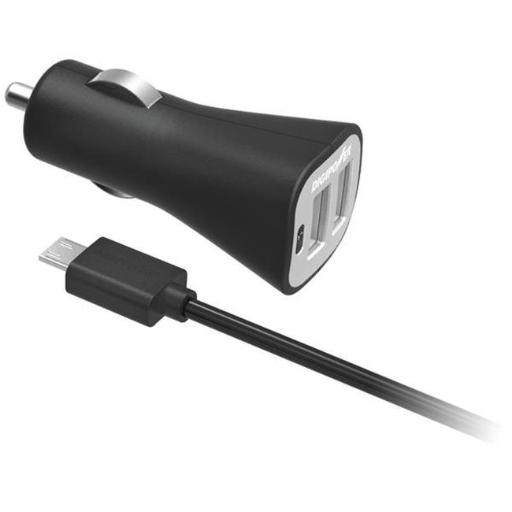 Instasense- tm 2.4-amp Dual-port Usb Car Charger With 4.9ft Micro Cable
