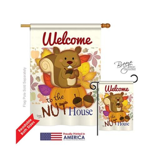 Breeze Decor 10087 Wildlife & Lodge Nut House 2-Sided Vertical Impression House Flag - 28 x 40 in.