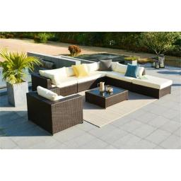 Mano Patio 15253974 Pacifica Rattan Wicker Outdoor Conversation Sectional Sofa, Brown - Set of 7