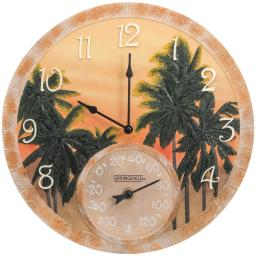 Springfield 92669 14 poly resin clock with thermometer (coconut bay)