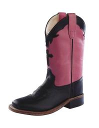 Old West Cowboy Boots Girls Kids Square Toe Black Hot Pink BSC1808 BSC1808