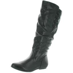 Cliffs by White Mountain Womens Francie Faux Leather Slouchy Knee-High Boots