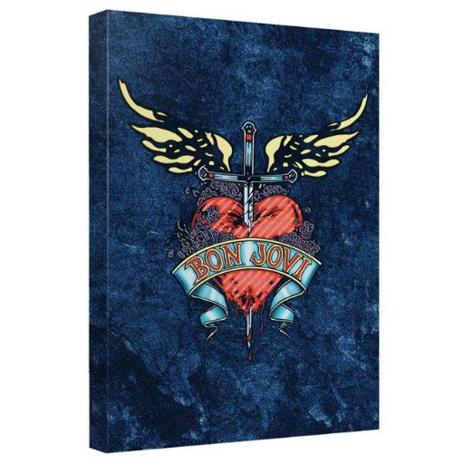 Trevco BAND268-ADV2-12x12 Bon Jovi & Weathered Denim-Canvas Wall Art with Back Board, White - 12 x 12 in.