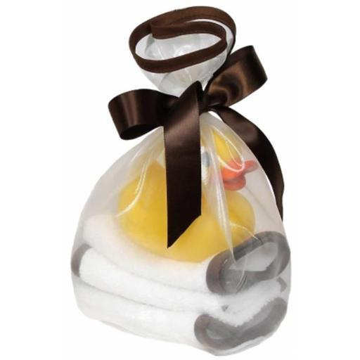 Raindrops 39514B Loved Wash Cloth & Rubber Ducky Set, Chocolate - 5 Piece