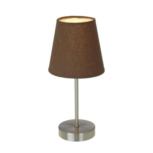 Sand Nickel Basic Table Lamp with Brown Shade