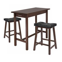 Winsome 3-Piece Kitchen Island Breakfast Table with 2 Cushion Saddle Seat Stools