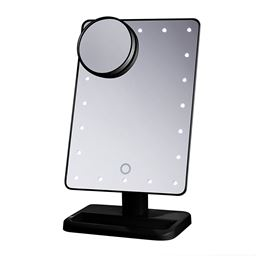 Beautify Beauties Lighted Makeup Mirror, Rotatable With Battery Operated Led Lights (black) - 1 Ea