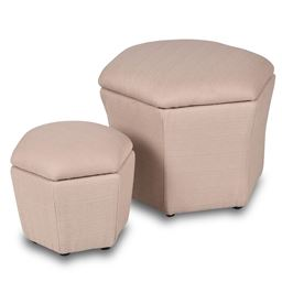 Set of 2 Ottomans Seat Storage Boxes