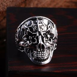 Punk Vintage Trend Men's Ring Gothic Men Skull Flower Biker Zinc Alloy Ring - 8, sa972