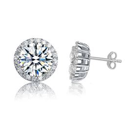 Rozzato Jewelry Sterling Silver Rhodium Plated C.Z. Round Earrings