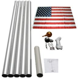 25 Ft Aluminum Sectional Flag Pole Set with 3'x5' Us Flag