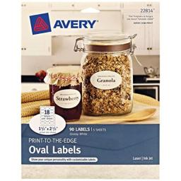"""Avery Oval Labels with Sure Feed for Laser & Inkjet Printers, 1.5"""" x 2.5"""", 90 Glossy White Labels (22814)"""