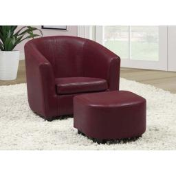Offex OFX-283967-MO Red Leather-Look Juvenile Chair/Ottoman 2 Piece Set