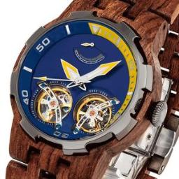 Men's Dual Wheel Automatic Kosso Wood Watch - 2019 Most Po