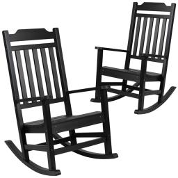 Flash Furniture Set of 2 Winston Black Faux Wood All-Weather Rocking Chair for Indoor and Outdoor