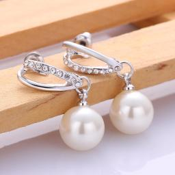 Pearl Drop Earring in 18K White Gold Plated