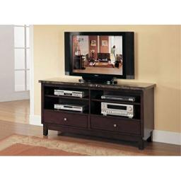 acme Danville TV Stand, Black Marble & Walnut Transitional/Black Marble & Walnut/