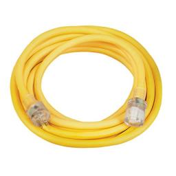 Coleman Cable 02687 10/3 Vinyl Outdoor Extension Cord with Lighted End, 25-Foot