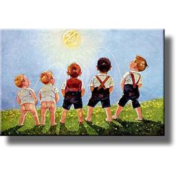 Boys Urinating into the Sun, Toilet Bathroom Picture on Stretched Canvas Wall Art Decor, Ready to Hang!