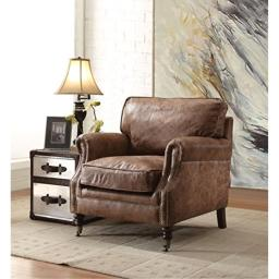 Acme Dundee Accent Chair, Retro Brown Top Grain Leather Retro Brown TG Leather/Vintage/Industrial