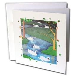 Christmas Seven Swans A Swimming - Greeting Card, 6 x 6 inches, single (gc_28183_5)
