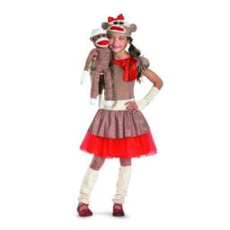 Disguise Sock Monkey Girl Costume, Beige/Brown/Red, Small/4-6x