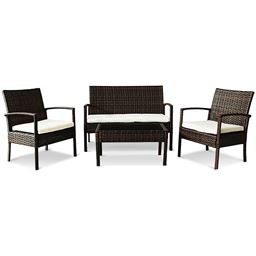 4 pcs Garden Lawn Rattan Cushioned Seat Wicker Sofa Furniture Set