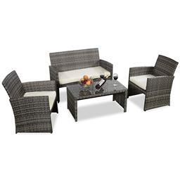 4 pcs Goplus Outdoor Garden Sofa Furniture Set