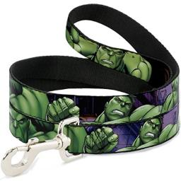 Buckle-Down Dog Leash Marvel Hulk Close Up Poses 6 Feet Long 1.5 Inch Wide