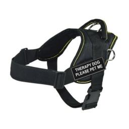 DT Fun Works Harness, Therapy Dog Please Pet Me, Black With Yellow Trim, X-Small - Fits Girth Size: 20-Inch to 23-Inch