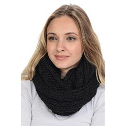 Basico Women Winter Chunky Knitted Infinity Scarf Warm Circle Loop Various Colors (Braids Black)
