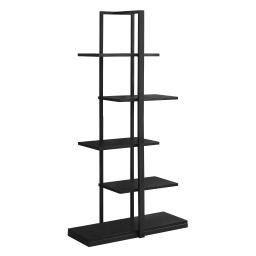 """Offex 60""""H Contemporary Home Office High Bookcase with Zig-Zag Design - Black"""