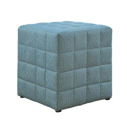 Offex Contemporary Blue Linen-Look Upholstered Cube Ottoman