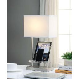 Contemporary Metal and Acrylic Table Lamp with Charging Dock, White and Silver