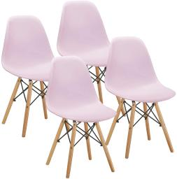 Set of 4 Mid Century Side Chairs with Natural Wood Legs