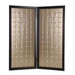 Fabric Upholstered Room Divider with Modish Design, Small, Gold and Black