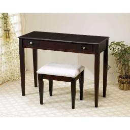 Contemporary 2 Piece Flip Top Vanity and Stool with Fabric Seat, Brown