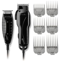 "Andis Professional Stylist Clipper and Trimmer Combo Kit, High Speed Whisper Quiet Magnetic Motors with Ergonomic Design, Clipper has AdjustMle Blade with 6 Comb Attachments Size 1/8""-1"", T-Blade Outliner Trimmer Features 4 Comb Attachments Size 1/16""-3/8"