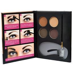 Beauty Treats Eyebrow Kit - 4 Eyebrow Powders, 3 Stencils, 1 Brush Applicator