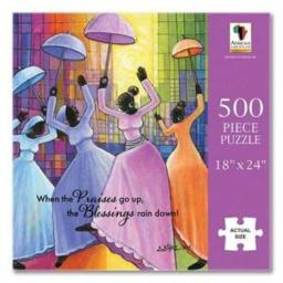 """African American Expressions - Praises Go Up Puzzle (500 Pieces, 18"""" x 24"""") PUZ-14"""